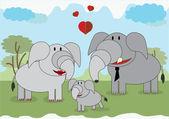 Elephants family — Stock Vector