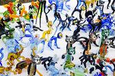 Handmade glass figures. Dog cat rabbit. — Stock Photo