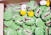 Mushrooms and nuts imitation made of sweet. — Stock Photo