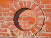 Brick wall round circle details backdrop. — Stock Photo