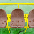 Brown plastic seats of ferry. Passenger nautical transportation. - Stock Photo
