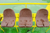 Brown plastic seats of ferry. Passenger nautical transportation. — Stock Photo