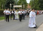 Religious procession at corpus christi day — Stock Photo