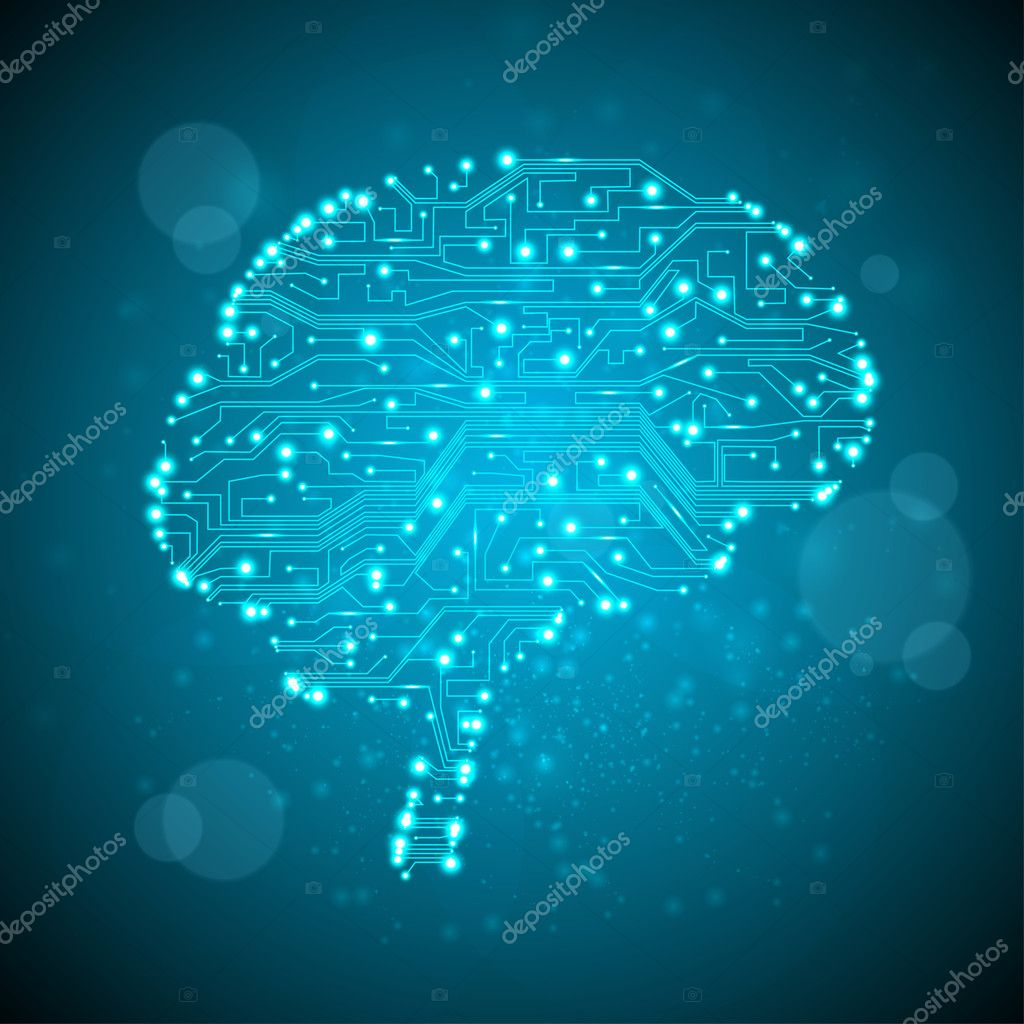 Circuit board vector background, technology illustration, form of brain eps10  Stock Vector #7797728