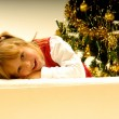 Girl by Christmas Tree — Stock Photo