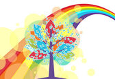 A tree with a rainbow — Stock Vector