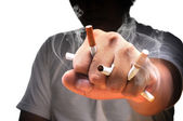 A man fist full with cigarette — Stock Photo