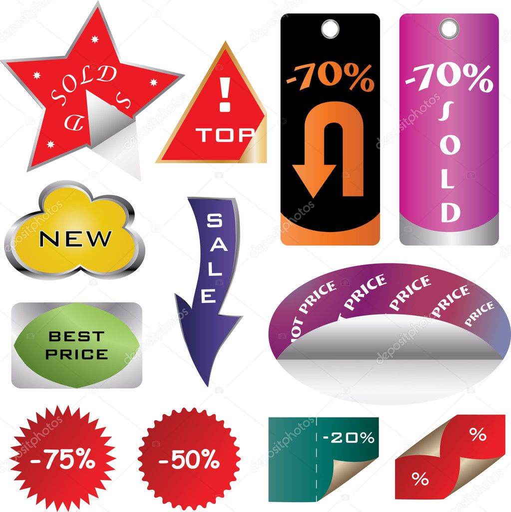 Vector set of tags  Stock Vector #7160272