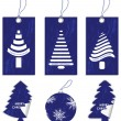 Special blue price tags, labels and ball with Christmas design — Stock Vector
