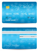 Special blue credit card with Christmas design — Stock Vector
