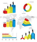 Colorida colección de silueta de infografía y empresario — Vector de stock