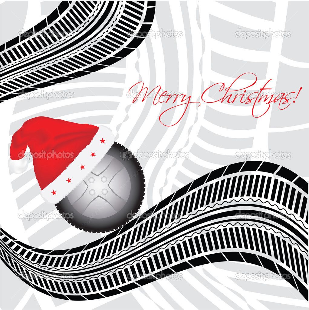 Special Christmas background with tire design — Stock ...