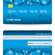 Stock Vector: Vector credit card, front and back view - christmas edition