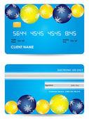 信用卡、 前面和背面视图-圣诞版 — 图库矢量图片