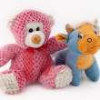 Soft toys bear and cow - Stock Photo