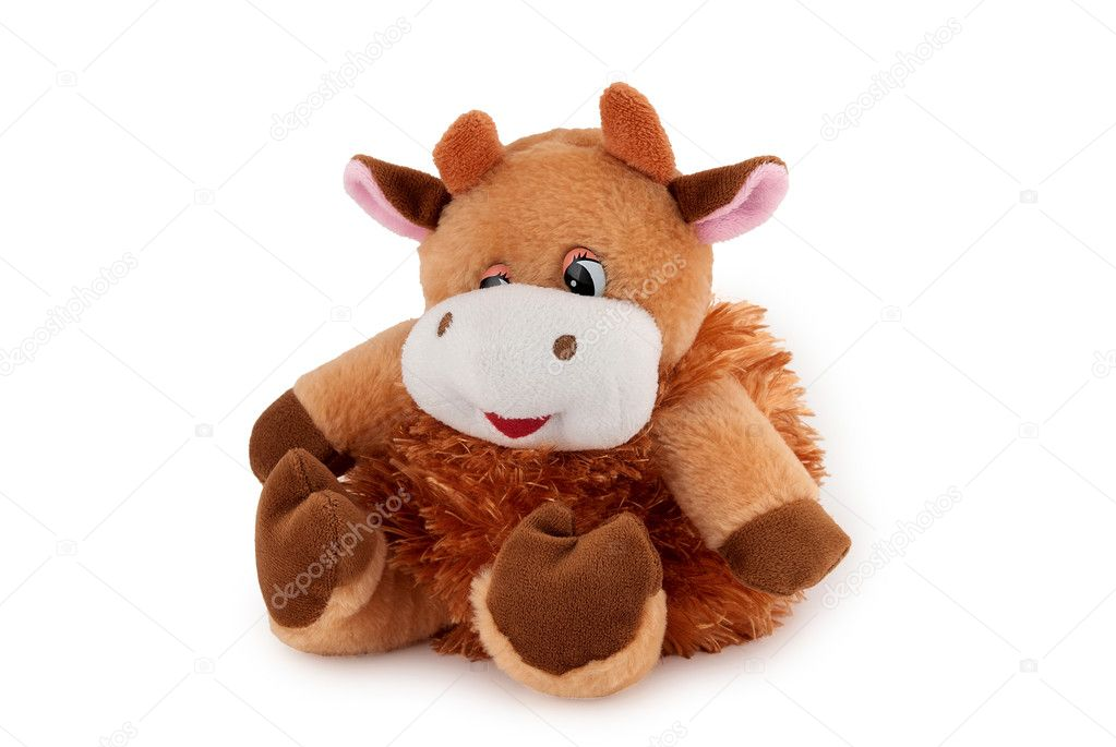Soft toys cow on a white background — Stock Photo #7280131