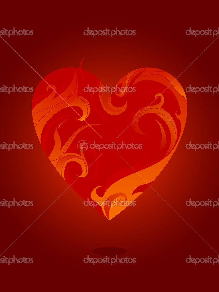 Burning heart vector  — Stock Vector #6886994