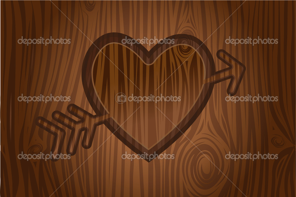 Heart engraved in tree vector  — Stock Vector #6886999