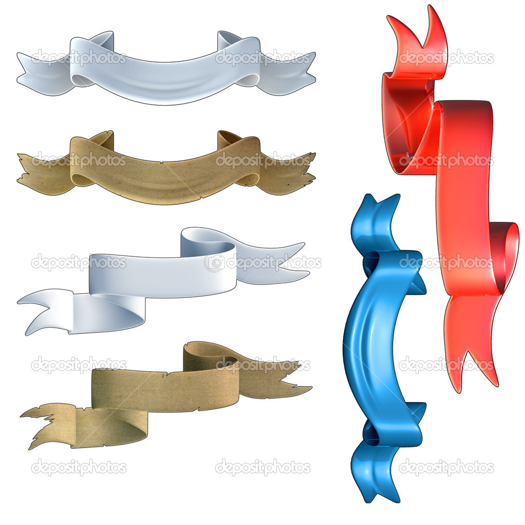 A set of banners in different styles, made in 3D software, high quality.  Stock Photo #6944805