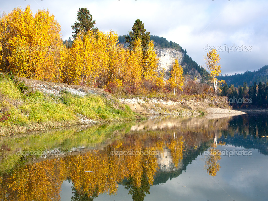 The yellow and green colors of Autumn reflect off the calm still water of the river. — Stock Photo #7431123