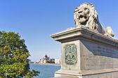 Lion Statue Guarding parliament — Stock Photo