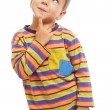 Smiling little boy thinking about - Stock Photo