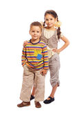 Two smiling little children standing together — Stock Photo