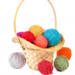 Basket with colorful balls of yarn — Stock Photo