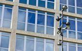 Lampy a firemní budovy — Stock fotografie