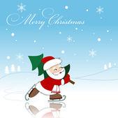 Santa with new year tree — Stock Vector