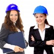 An attractive diverse woman architect team on construction site — Stock Photo #7277859