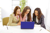 Business team working on their business project together at office - Team w — Stock Photo