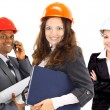 Team of business in group, architect and engeneer on construciton si — Stock Photo
