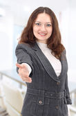 A beautiful young smiling business woman, — Stock Photo