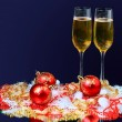 Champagne glasses on celebration table — Stock Photo