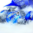 Festive balls with gift box on snow — Stock Photo #7694151