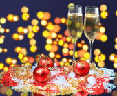 Two Champagne Glasses at Christmas — Stock Photo