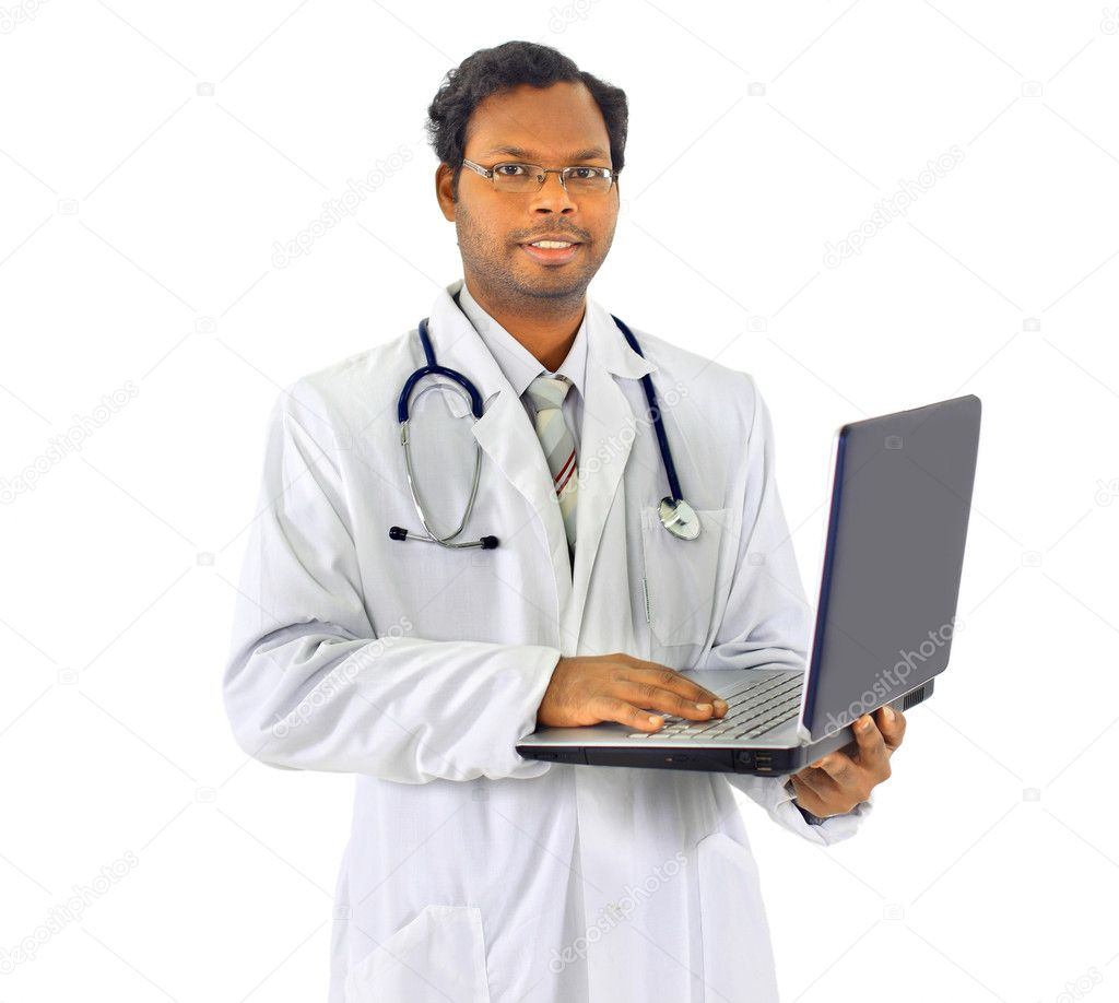 Beautiful african-american doctor, holding the laptop. Isolated on a white background. — Stock Photo #7694192