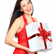 Young happy woman with a gift — Stock Photo #7944592