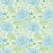 Stock Vector: Blue flowers seamless pattern