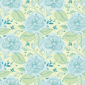 Blue flowers seamless pattern — Stock Vector