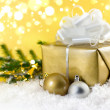 Golden Christmas gift — Stockfoto