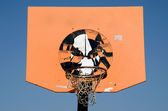 Orange and grunge basketball backboard — Stock Photo