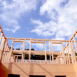 Stock Photo: New wooden house construction