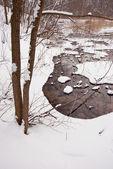 Piccolo fiume di inverno e neve — Foto Stock
