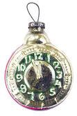 Vintage Christmas tree clock toy on white — Stock Photo