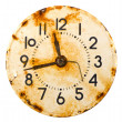 Rusted and grunge metal clock dial — Stock Photo