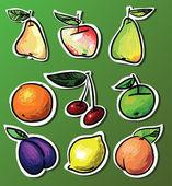 векторный набор - девять плоды на ярком фоне. иллюстрация — Cтоковый вектор