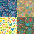 4 Seamless vector texture with hearts — Stock Vector