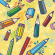 Vector illustration. Seamless texture with bright yellow pencils. — Stock Vector